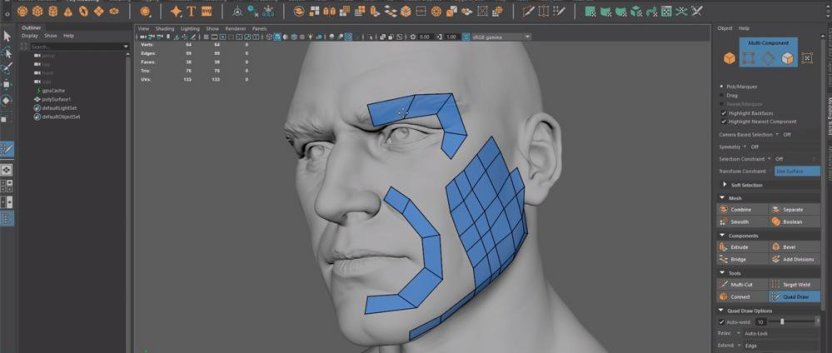 image: Retopology in progress. Credit: https://3dtotal.com/news/general/how-to-speed-up-retopo-in-maya
