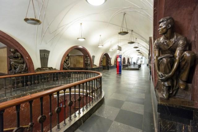 The metro station Ploschad Revolutsii in Moscow, Russia