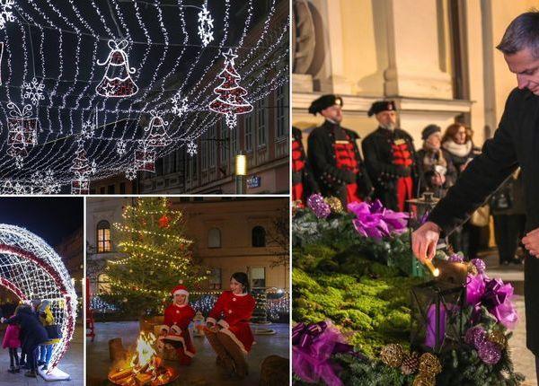 Upaljena prva adventska svijeća u Čakovcu: Predivna rasvjeta zasjala gradom