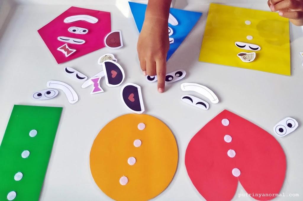 Free Printable Shape Face; Bisa Belajar Warna, Bentuk dan Wajah