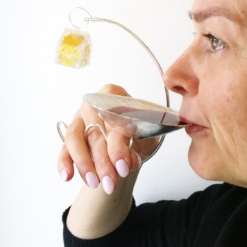 Monica Wickstrom, bracelet, ring and wine cup ''Alone or together''- sterling silver, gold leaf, plastic