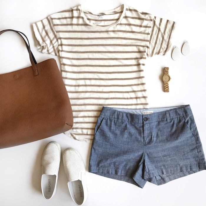 striped tee + chambray shorts + white sneakers
