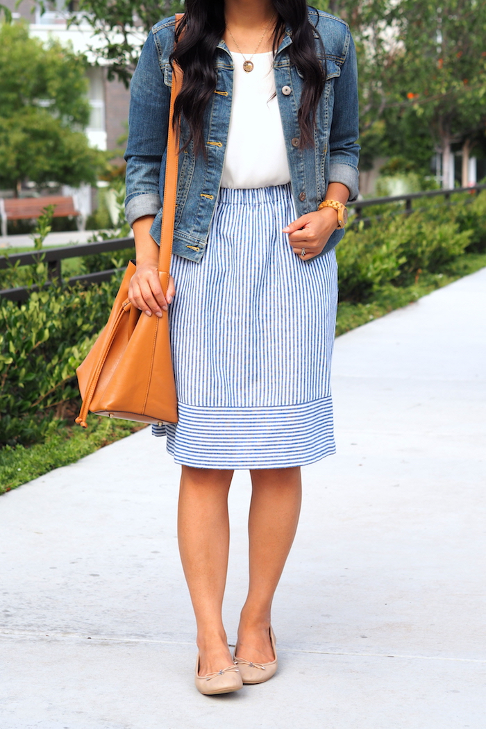 white top + denim jacket + striped skirt + nude Sam Edelman flats