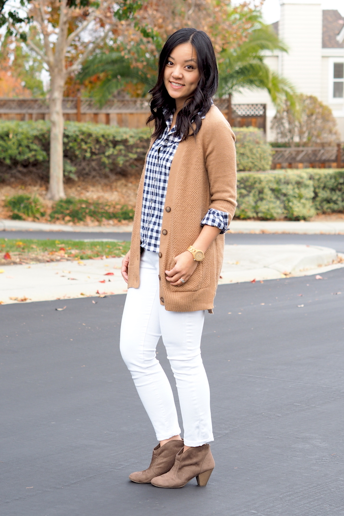 White Skinnies + Booties + Gingham Button Up + Tan Cardigan