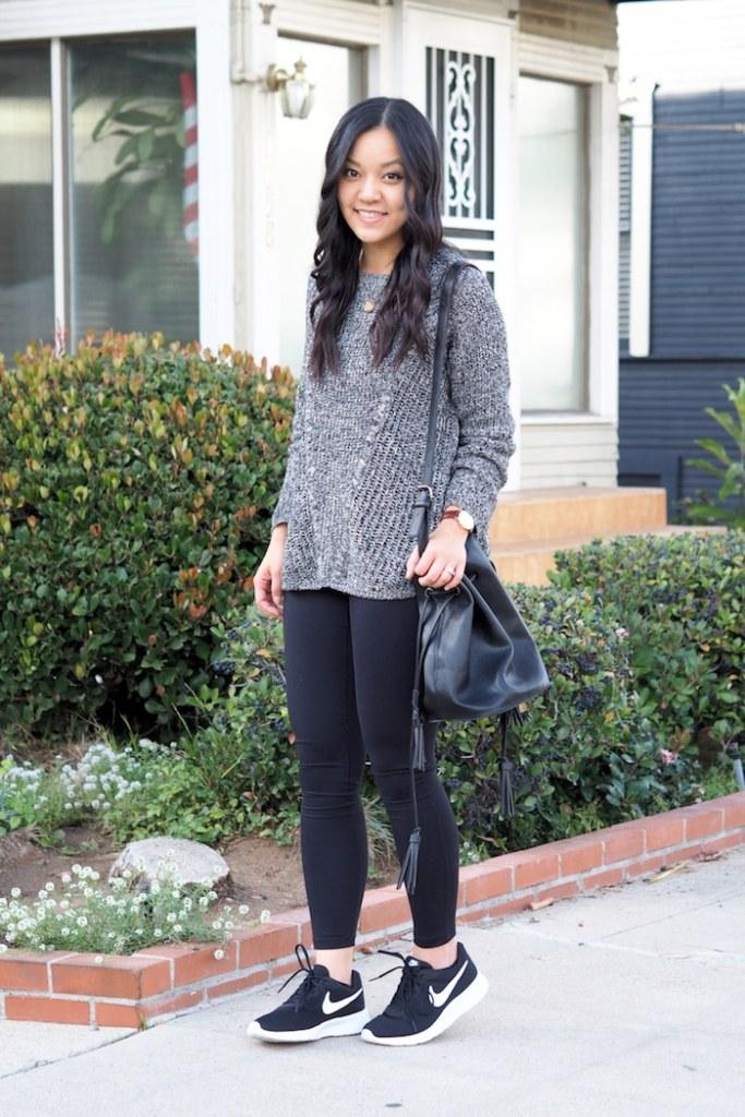 Grey Textured Sweater + Leggings + Black Nike Tanjun Sneakers