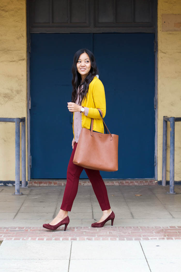 Maroon Pants + Tote + Yellow Cardigan + Blouse