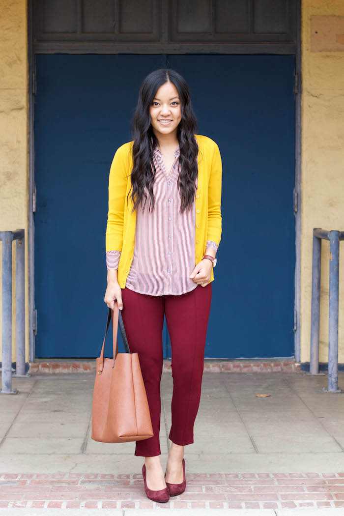 Yellow Cardigan + Blouse + Maroon Pants + Pumps