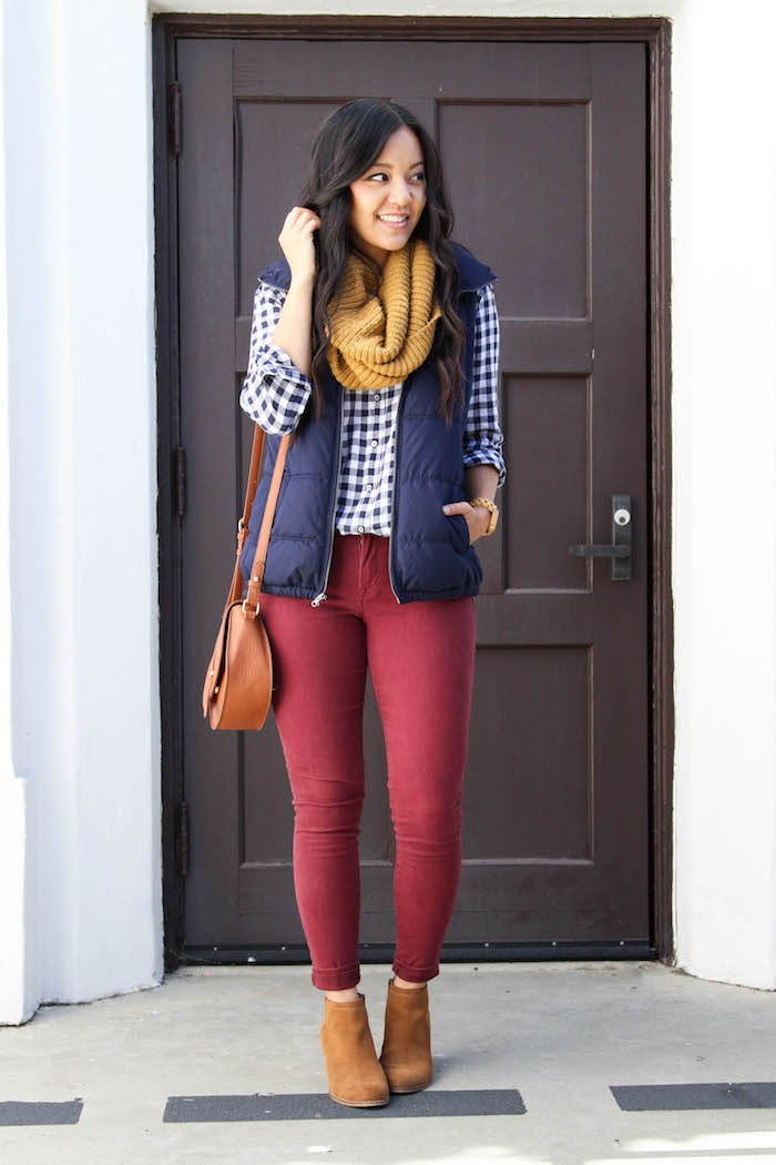 Maroon Skinnies + Gingham Button up + Mustard Scarf +Booties