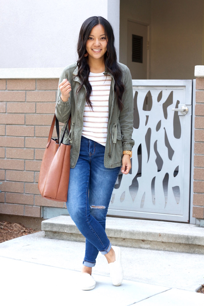 striped tee + distressed jeans + utility jacket + white sneakers