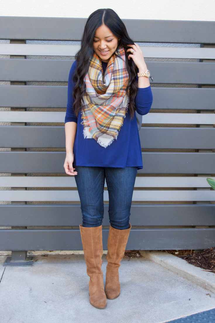 Travel Outfit: Blanket Scarf + Skinnies + Boots + Blue Butter Tee