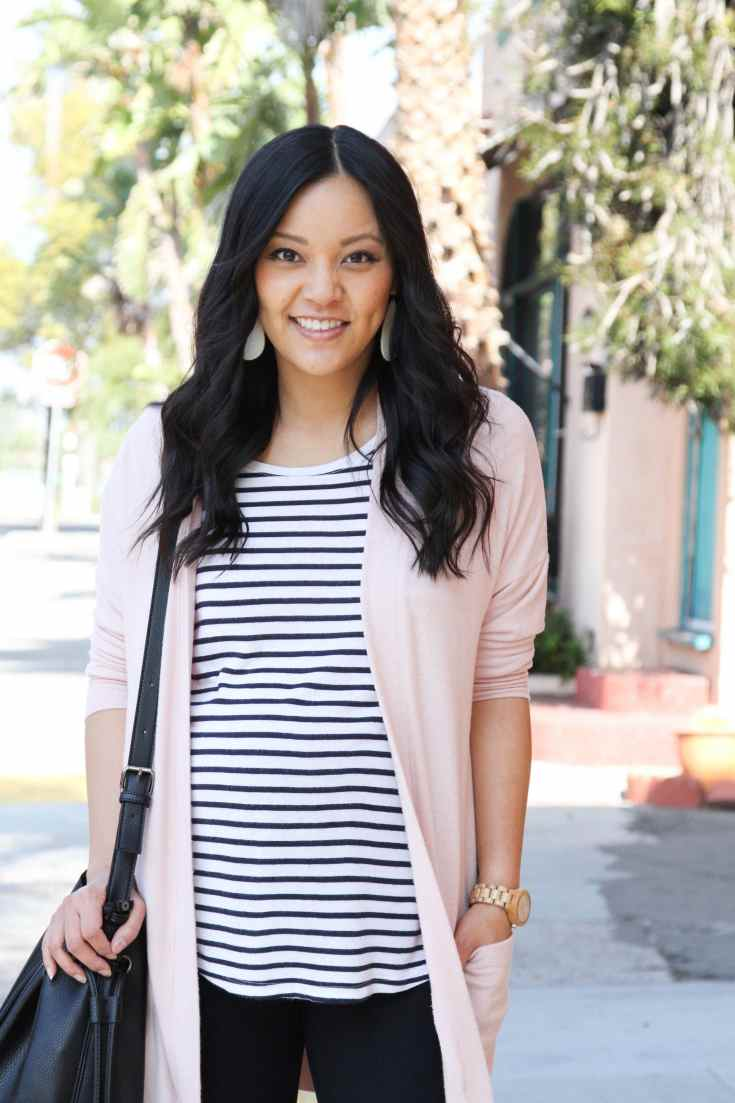 Striped Tee + Blush Cardi + Bucket Bag + Statement Earrings