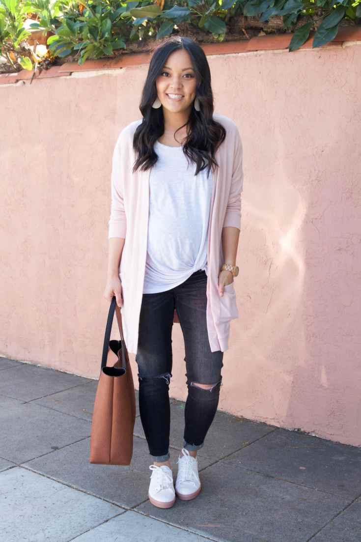 Blush cardigan + White Twist Tee + Grey Skinnies + White Sneakers