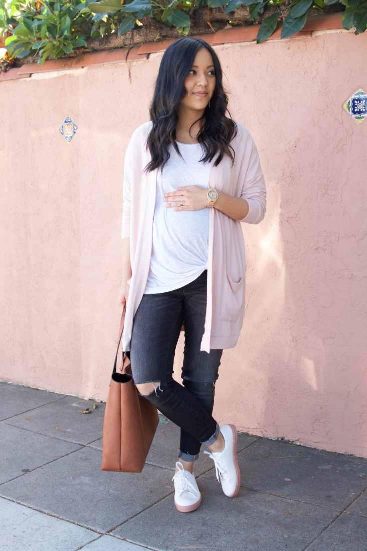 Twist Tee + Blush Cardigan + Cognac Tote + Distressed Jeans + White Sneakers