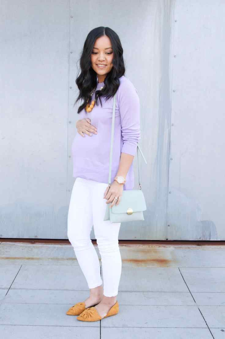 Lavender Sweater + White Jeans + Mustard Flats + Mint Purse + Statement Necklace
