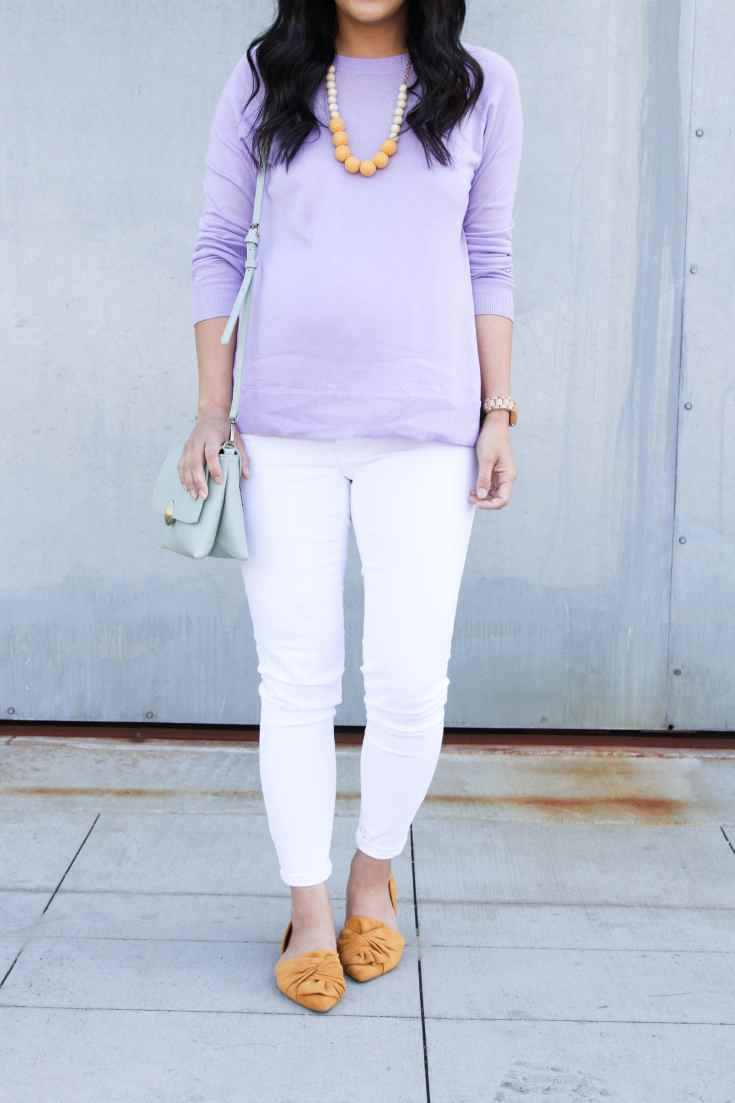White Jeans + Mustard Flats + Lavender Sweater + Statement Necklace + Mint Bag