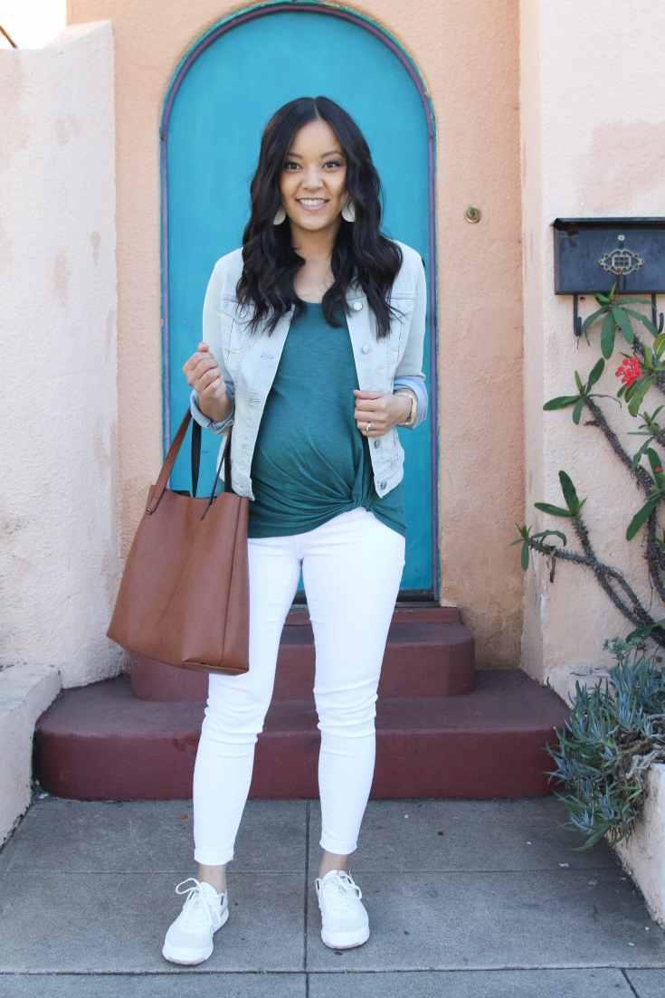 Denim Jacket + Green Twist tee + White Jeans + Sneakers + Tote