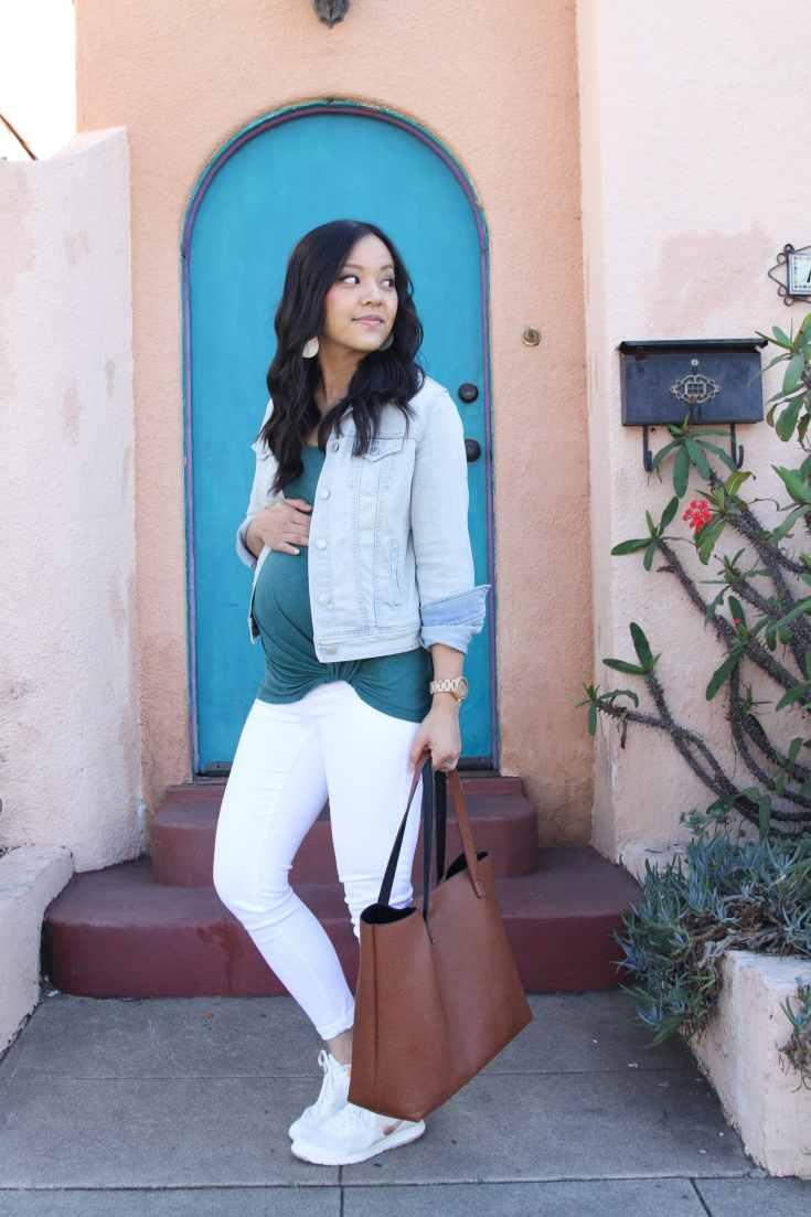 Green Twist Tee + Tote + Sneakers + White Jeans+ Denim Jacket