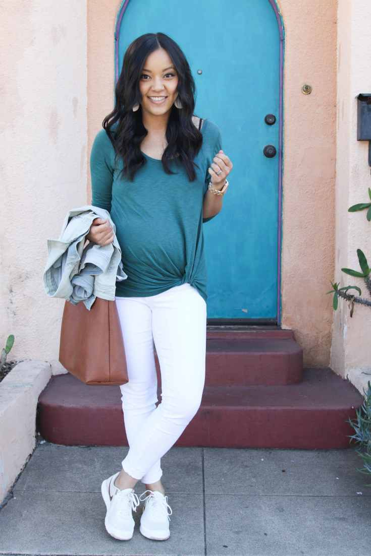Green Twist Shirt + White Jeans + Tote + Sneakers