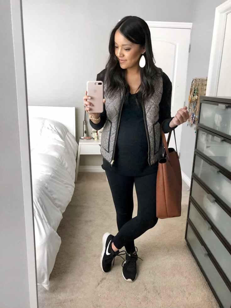Leggings + Black Shirt + Grey Vest + Statement Earrings + Sneakers