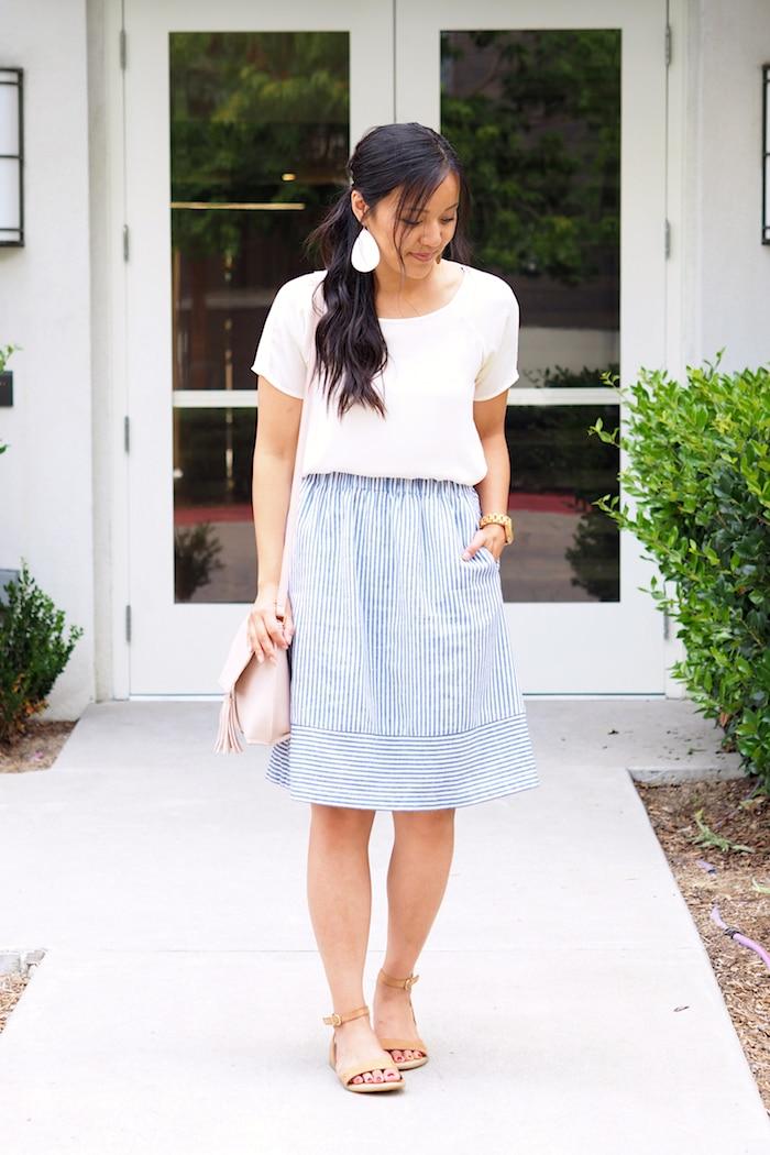 Blue Stripe Skirt + White Tee + Statement Earrings + Sandals