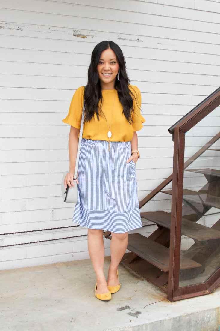 Yellow Blouse + Striped Skirt + Yellow Flats + Grey Bag