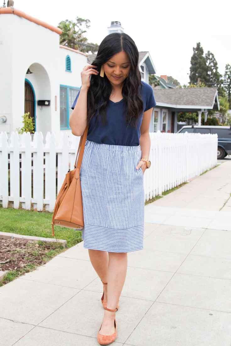 Navy Tee + Striped Skirt + Rust Flats + Cognac Bag