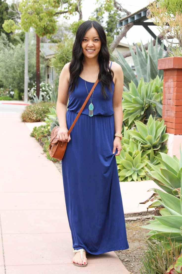 Blue Maxi Dress + Cognac Bag + Turquoise Jewelry