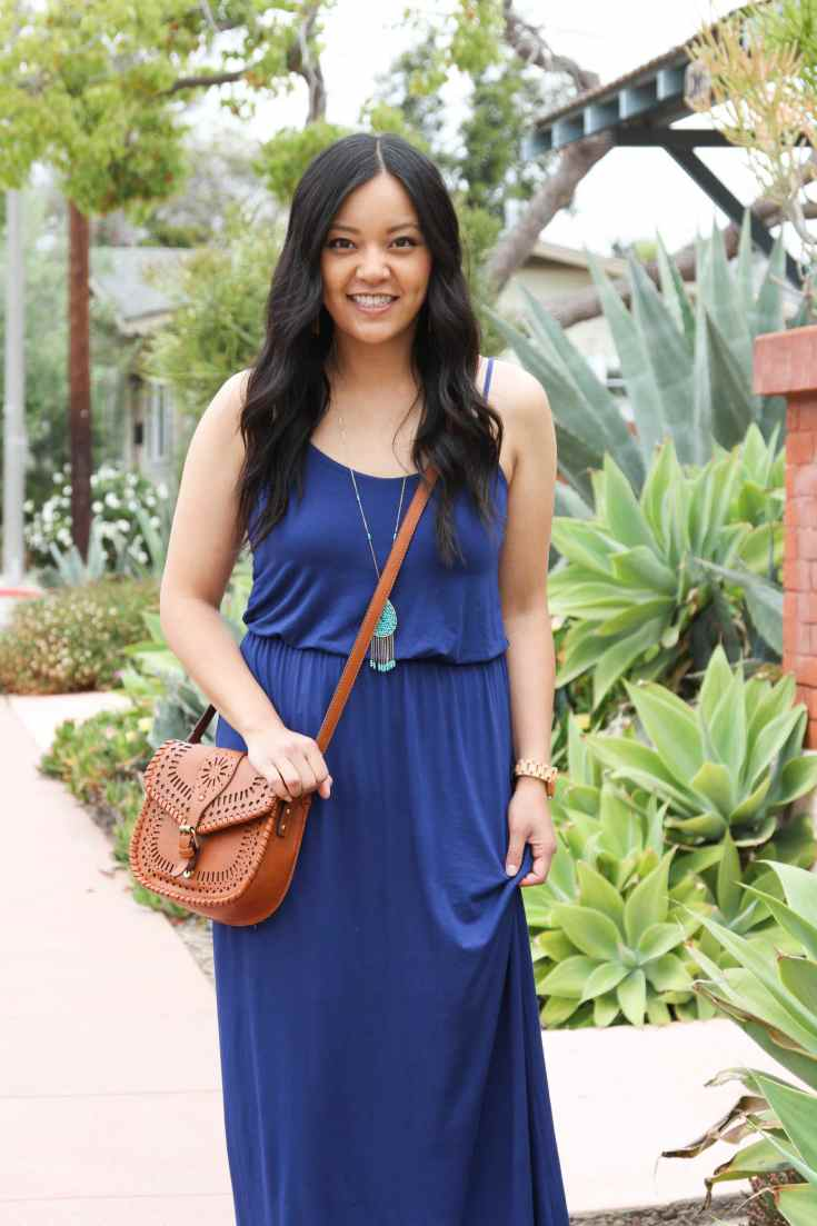 Cognac Bag + Turquoise Necklace + Blue Summer Maxi Dress