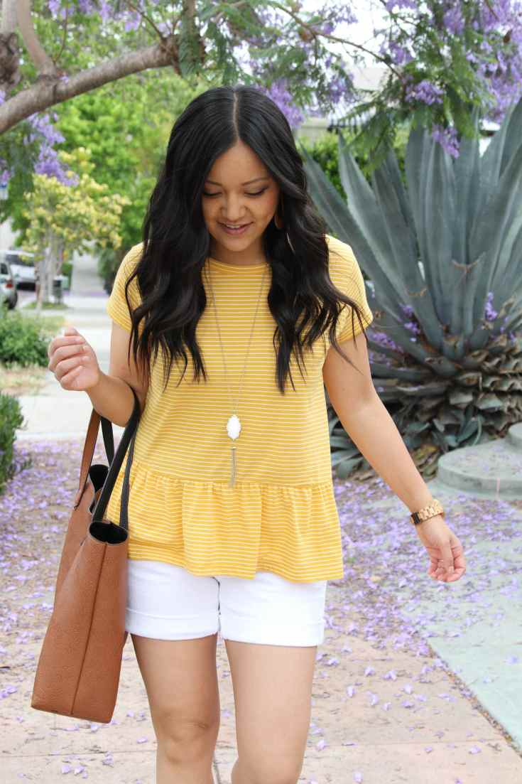 White Shorts + Yellow Peplum Top + Cognac Bag