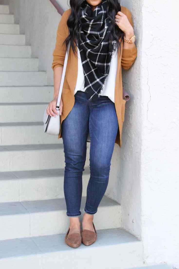 Loafers + Skinny Jeans + Blouse + Blanket Scarf + Caramel Cardigan