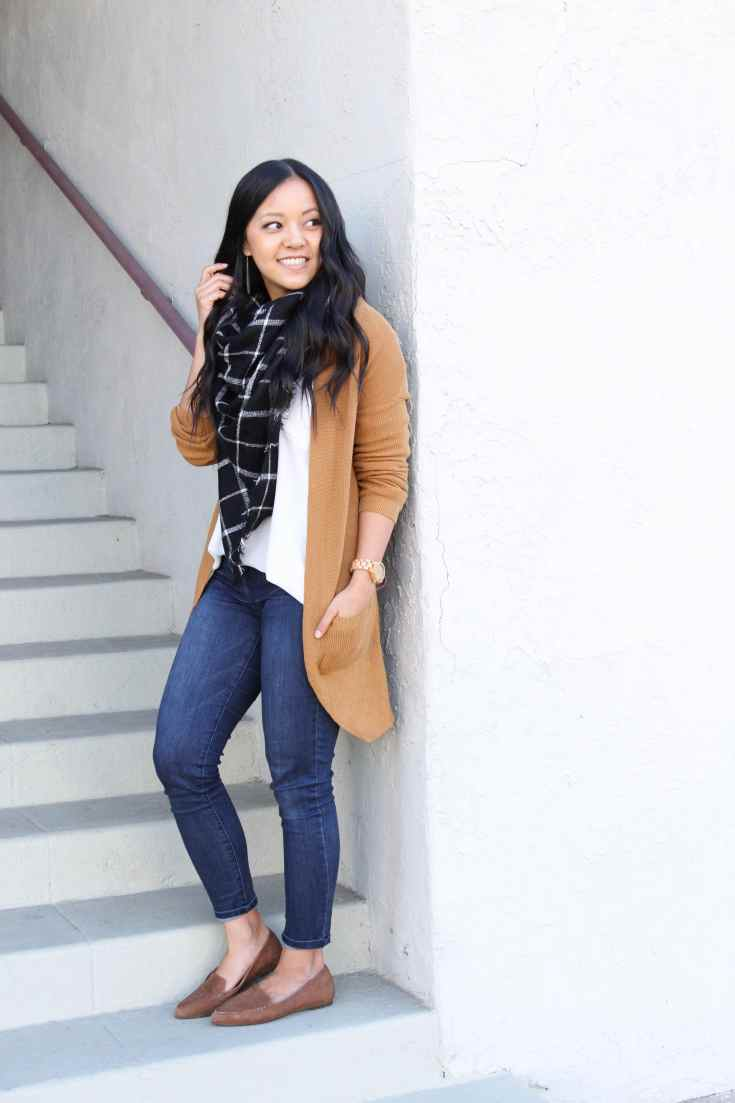 Brown Cardigan + White Blouse + Blanket Scarf + Skinnies + Loafers