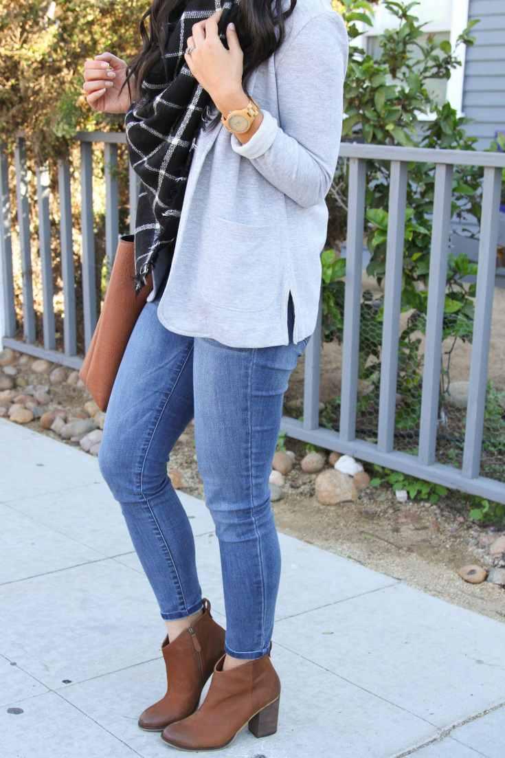 Gray Blazer + Blanket Scarf + Skinnies + Heeled Booties