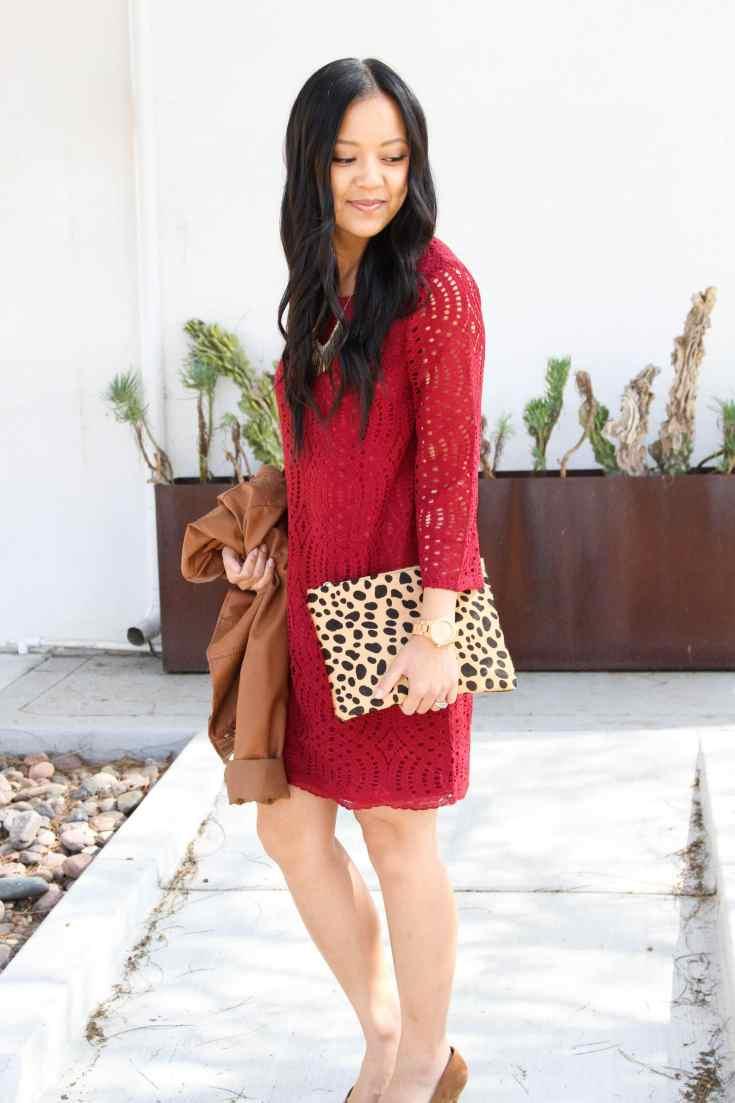 Leopard clutch + Red lace dress + Leather jacket