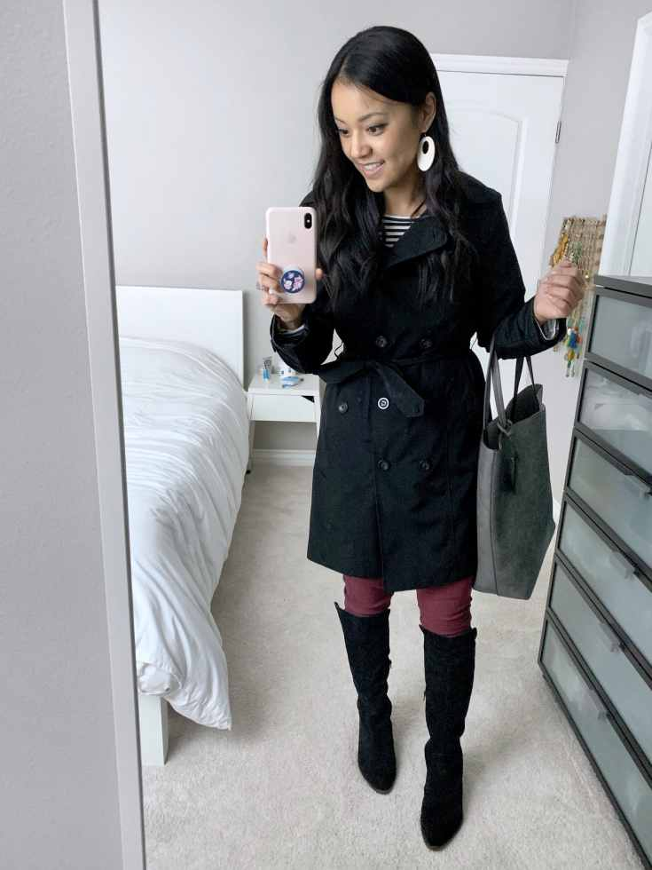 Trench Coat + striped top + Gray bag + maroon jeans + black boots