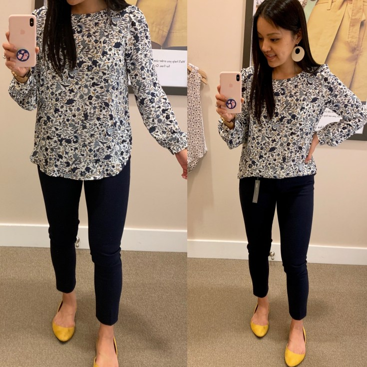 Blue Floral Print Blouse for Work
