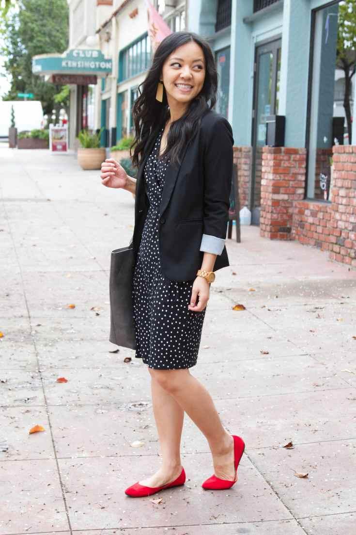 wooden watch + black polka dot dress + red flats + brown earrings