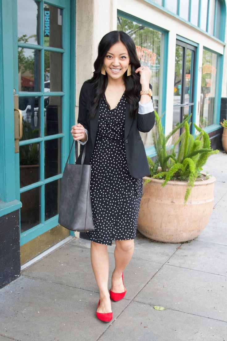 black polka dot dress + black blazer + red flats + grey tote