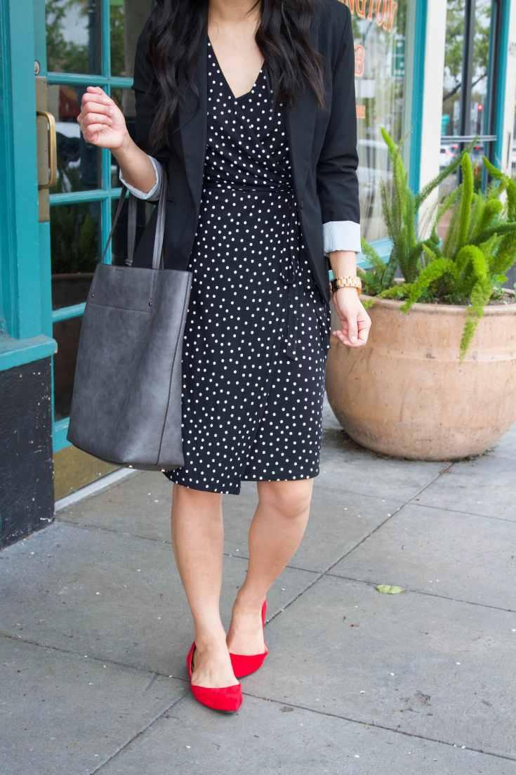 black polka dot dress + red flats + grey tote + black blazer