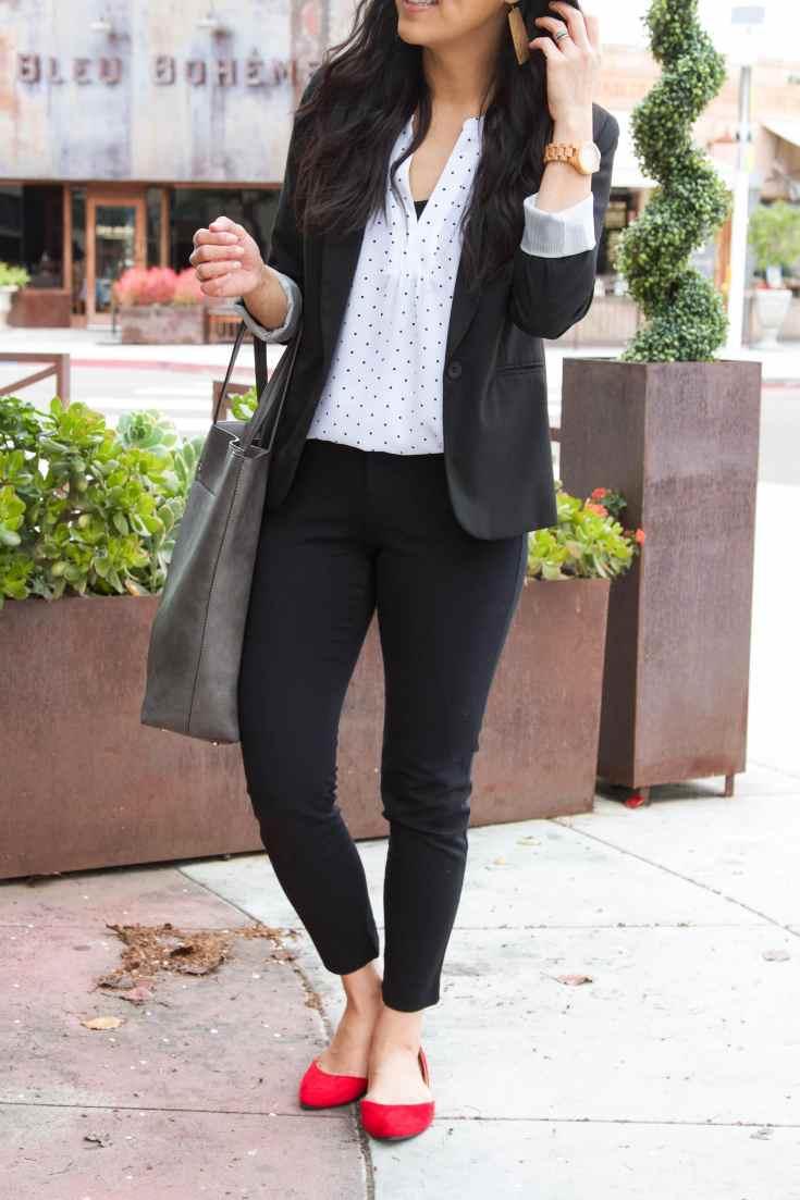 red flats + black pants + black blazer + white blouse