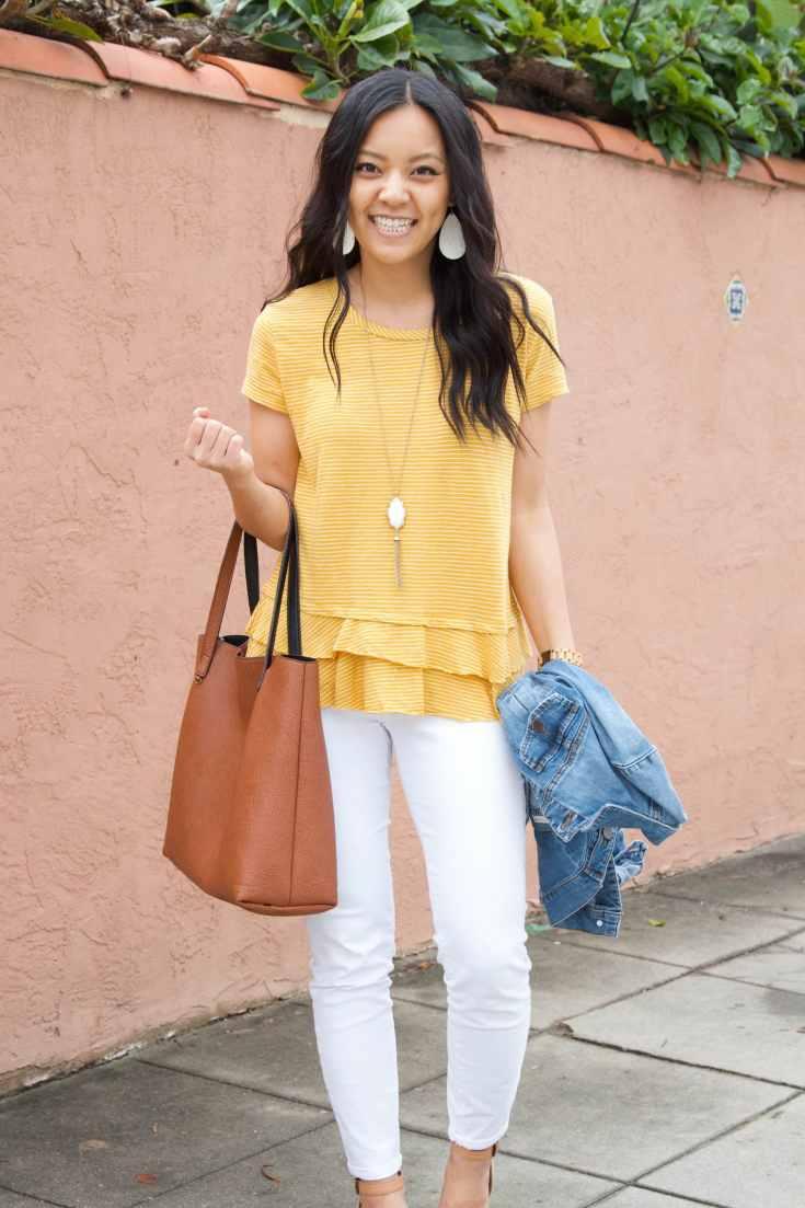 Yellow peplum top + white skinnies + cognac tote + denim jacket