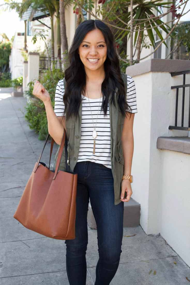Stripped Tee + Olive utility vest + skinny jeans + brown tote