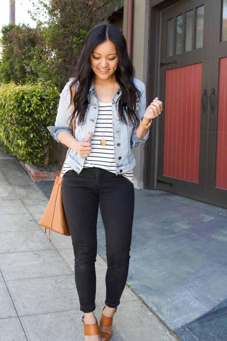denim jacket + black jeans + striped tee