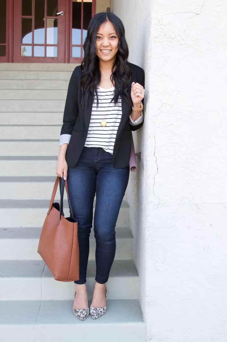black twill blazer + striped tee + skinny jeans + leopard print flats + brown tote