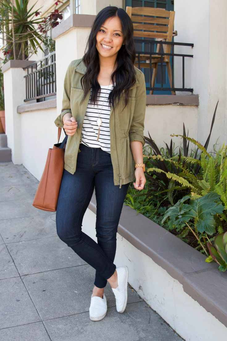 olive utility jacket + striped tee + jean jacket + white sneakers + brown tote