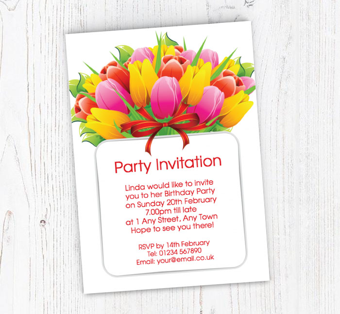 bunch of tulips invitations