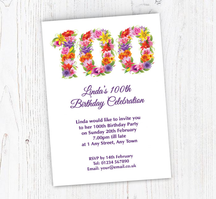 floral 100th birthday party invitations