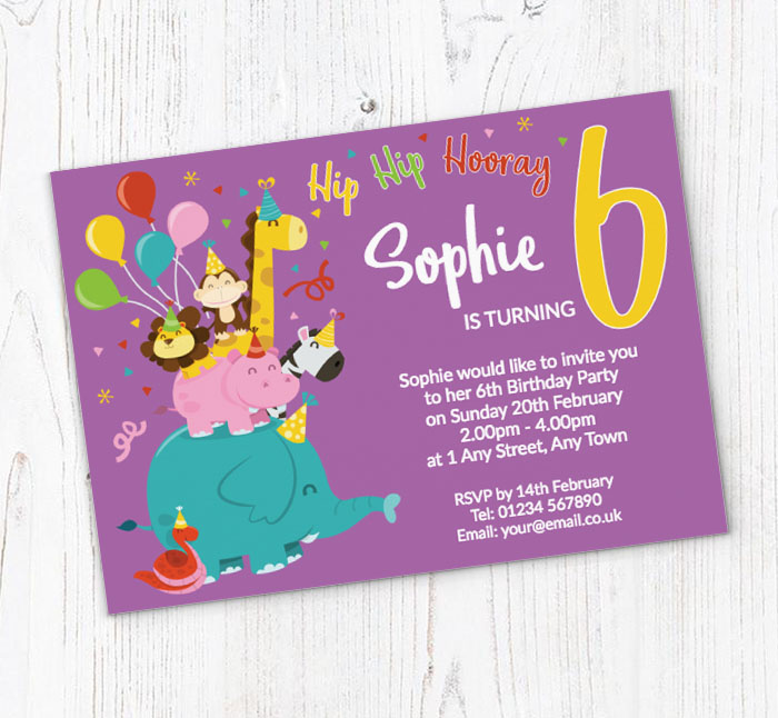 6th Animal Birthday Party Invitations Customise Online Plus Free