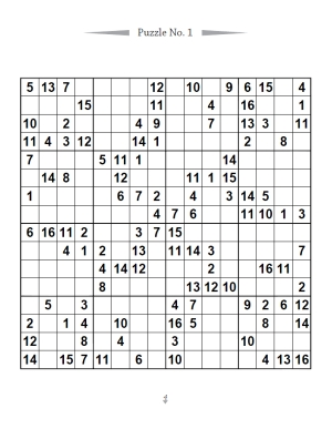 16X16 Sudoku Puzzle Book
