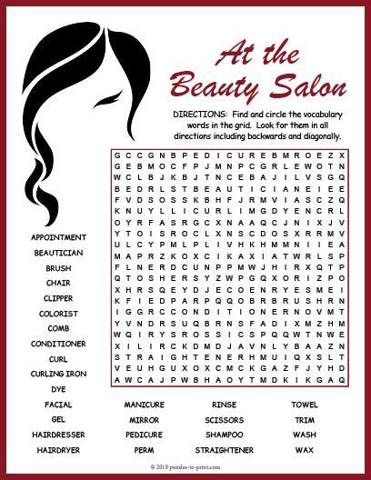 Beauty Salon Word Search