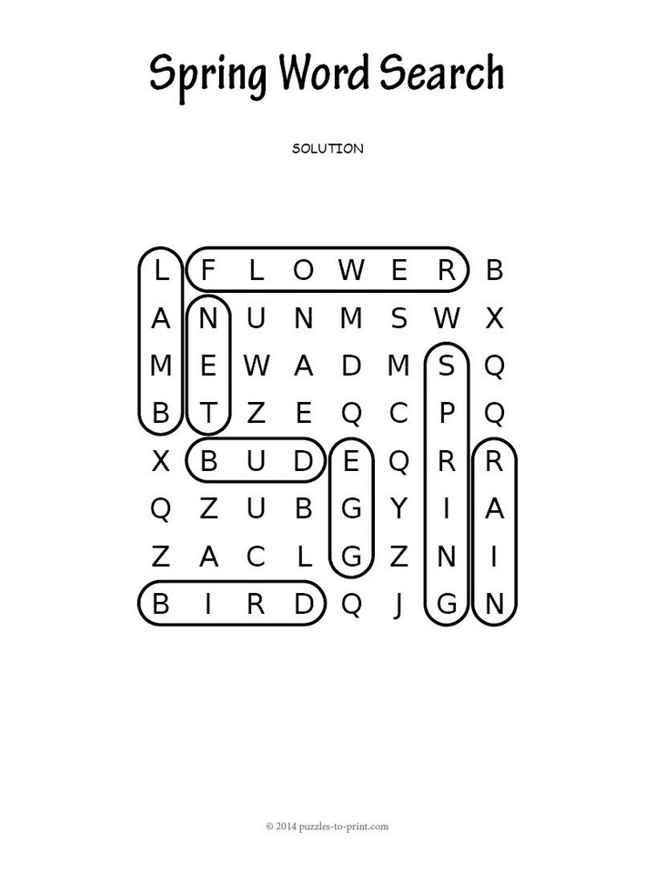 Easy Spring Word Search